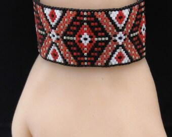 7.75 Inch Cuff Bracelet - Red & Black - Beaded Flat Band - Seed Bead Peyote - Geometric Bracelet - Beaded Cuff - For Her