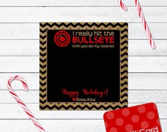 Printable Bullseye Teacher Holiday Gift Card Holder