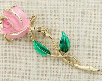 Pink Gold Rose Brooch Vintage Large Art Deco Enamel Rhinestones Broach Costume Jewelry   Vtg Pin 16E