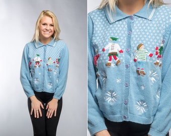 Light Blue Vintage Christmas Cardigan | Pastel Ice Skating Snowflakes Ugly Christmas Sweater Winter Size L Large Xmas Shirt Holiday C6