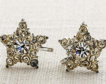 Vintage Rhinestone Earrings Clip On Star Small Silver Clipons | Vtg 7B