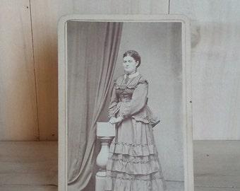 Antique Photograph Carte de Viste circa 1870s Woman Posing for Studio Photo Women's Fashion Ruffles and Flounces