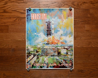 vintage 60s Delta Air Lines poster Houston NASA Apollo Jack Laycox painting artwork Saturn V rocket 1960 travel poster 0432-01077 28x22