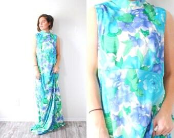 Vintage blue floral maxi garden dress // sleeveless boho modest floral dress // light blue floor length dress / 1960's maxi summer coverage