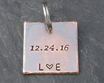 Anniversary Gift for Couple, Personalized Keychain with DATE, Anniversary Gift Husband or Wife, Engagement Gift for Fiancé, by Cheydrea