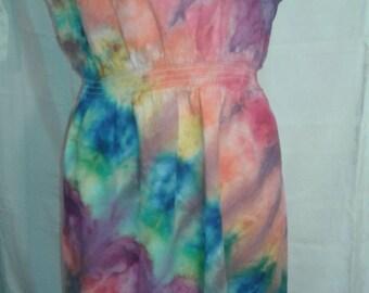 Large Women's summer dress, Tie Dye dress, Rainbow dress, Women's Dress