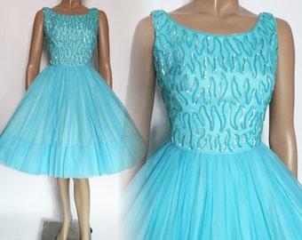 Vintage 1950s Dress |Aqua Dress | Sequin Dress | Jr. Theme Dress | 50s Party Dress | Vintage Dress | Party Dress | 50s Dress