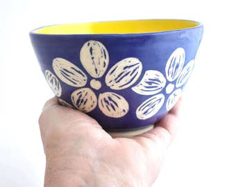 Small Pottery Bowl in Purple - Floral Ceramic bowl - Purple bowl -  Small serving bowl - candy dish - Ring bowl - Bright and Cheerful