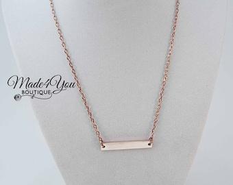 Rose Gold Bar Necklace - Dainty Rose Gold Necklace