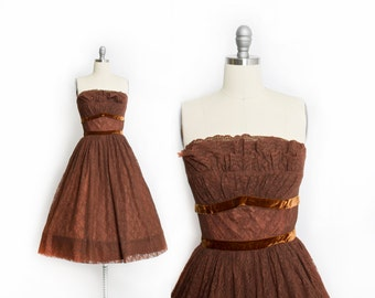 Vintage 50s Dress - Strapless Brown Lace Full Skirt Party Gay Gibson 1950s - Small