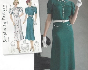 1930s Afternoon Dress Puff Sleeves Peter Pan Collar Simplicity Sewing Pattern 8248 Size 12 14 16 18 20 Bust 34 36 38 40 42 UnCut