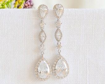 Crystal Wedding Earrings, Bridal Earrings, Dangle Drop Earrings, Teardrop Marquise Earrings, Vintage Style Bridal Wedding Jewelry, VICTORIA