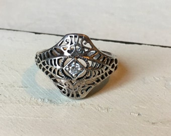 Vintage Sterling Silver Cubic Zirconia Ring.  Vintage Filigree Ring.  Round Cut Cubic Zirconia Ring. Alternative Engagement Ring - Size 8