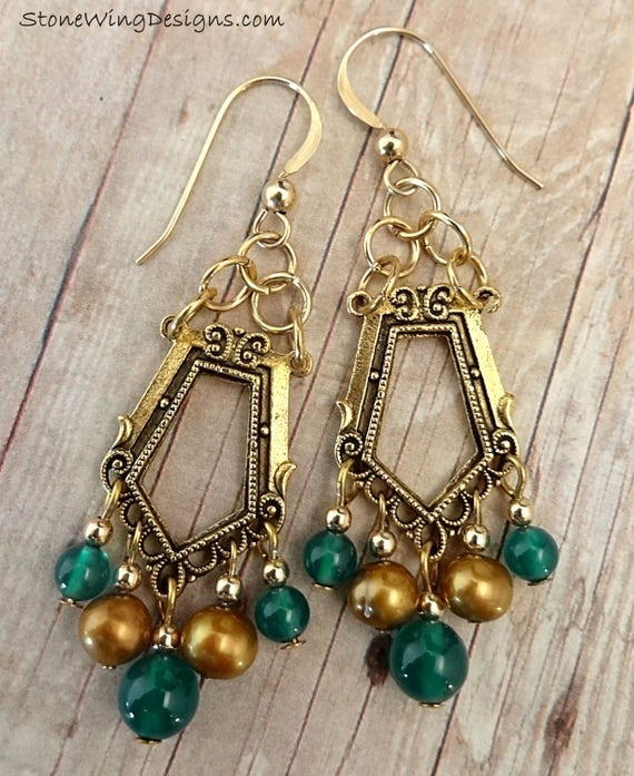 Art Deco Style Green Onyx and Gold Pearl Chandelier Earrings