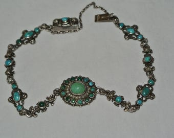 Antique Austro Hungarian 800 Silver , Turquoise And Seed Pearl Bracelet MARKED With Dog Head