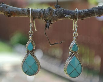 Sterling Silver & Inlaid Turquoise Earrings ~ 925 Vintage Jewelry