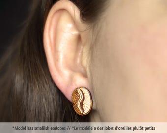 Coffee bean wood earring studs. Coffee lover, small wood earrings, laser cut studs, geek jewelry, gift for her, wooden jewelry, geek gift