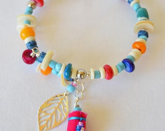 boho hippie stacking beaded bracelet, handmade beaded bracelet, festival jewellery, boho jewellery, pink,blue,yellow,white, hippie chic
