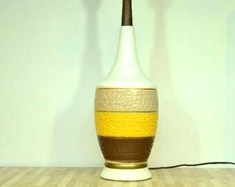 Midcentury Modern Ceramic Lamp Cream Taupe Yellow Brown Three Tiered Textured Wooden Neck