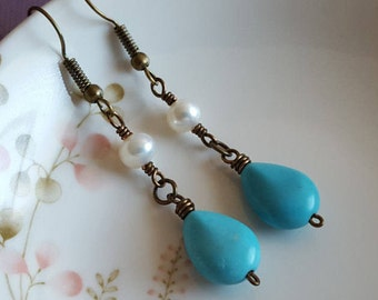 Turquoise and Pearl Earrings - Blue Turquoise Teardrop, Natural White Pearl, Vintage Bronze Earrings