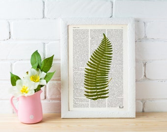 Summer Sale Vintage Book Print Green fern  Printed on Vintage Dictionary Book wall art home decor BFL127