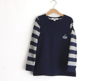 Sailor boat kids tshirt. Size 7 years. Hotchpotch top. Immediate shipping.