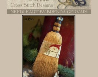 Sweeping Snowflakes cross stitch patterns by With Thy Needle & Thread at thecottageneedle.com December prim hand embroidery Christmas