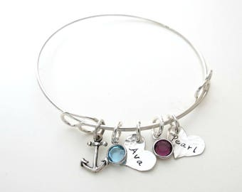 Personalized Bracelet with Birthstones and Anchor Charm  - Personalized Bangle - Personalized Jewelry - Mothers - Kids Name - Engraved