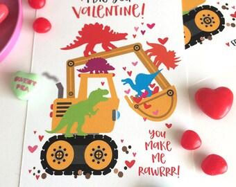 Dinosaur Truck Valentine for Kids