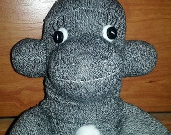 Charcoal Gray Sock Monkey w/ White Accents