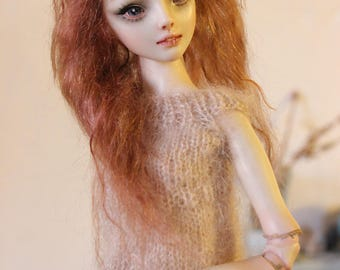 OOAK Wig for ENCHANTED DOLLS - Ash Strawberry Blonde Mohair, wavy, mid lenght, side part - fits resin and porcelain (read details)