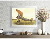 Antique Airplane, Aviation Photography, Prints, 5x7 + More, Yellow, Retro, Biplanes Home Decor, Aircraft, Vintage Wall Art