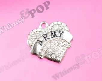 1 - Tibetan Silver Crystal Rhinestone ARmy Heart Charm, Army Charm, 20mm (R5-113)