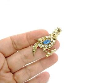 Bird Brooch. Animal Figural. Rhinestones with Gold Tone Top Hat & Bow Tie. Coro Style. Vintage 1940s Fun Art Deco Fashion Jewelry.