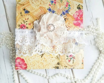Roses Wedding Album, Victorian Album, Vintage Collage Album, Roses Album, Shabby Chic Album, Handmade Flowers, Lace Album, Victorian Book