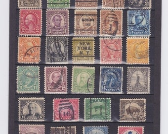 Old Used 1920's US Postage Stamps-1/2 Cent to 5 Dollars