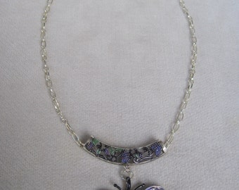 Antique Silver Lavender and Blue Fluttering Butterfly Pendant Necklace