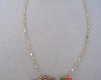 Intricate and Detailed Grapes, Strawberries and Cherries with Crystals n Flowers Pendant Necklace