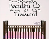 Nursery Bible Verse Wall Decal, You are Beautiful, Baby or Child Room Wall Graphic, Sunday School Wall Art