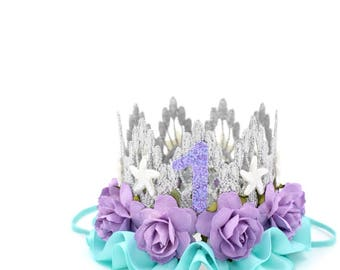 Mermaid flower birthday crown with starfish || silver +lavender + aqua || customize any age || photography prop || Ready to Ship