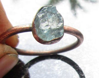 Blue Apatite Ring, Size 6 Ring, Raw Stone Ring, Raw Blue Crystal Ring, Copper Ring With Blue Aqua Stone, Ring,  Blue Apatite Copper Ring