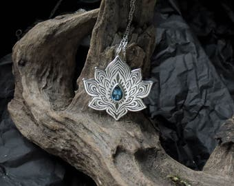 Lotus Necklace - Water Lily Necklace - Sterling Silver Flower Necklace - London Blue Topaz Necklace - Heart Chakra Necklace