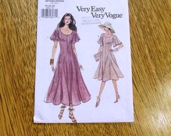 BOHO 1990's Romantic Princess Seamed Dress w/ Flutter Sleeves - Size (12 - 14 - 16) - UNCUT Sewing Pattern Vogue 8696