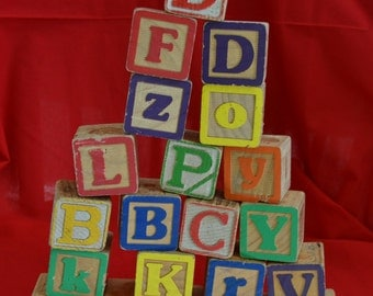 Vintage Wooden Baby Blocks