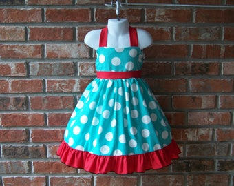 Halter Dress / Aqua & White Dots + Red / Sundress / Jumper / Swing / Pageant / Birthday / Party / Infant / Baby / Girl / Toddler / Boutique