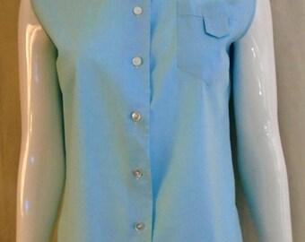 Vintage 1950s Blouse Light Blue Sleeveless Cute Patch Pocket Large 40 bust