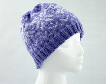 Puple and Lilac Knitted Fair Isle Winter Hat, Nordic Snowflake Cap, Woman's Ski Hat