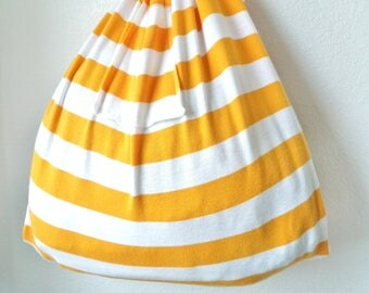 Reusable Grocery Bag Farmers Market Fold Up Stretch Produce Shopping Tote Orange White Stripe Recycled T-Shirt Bag w/ Pocket