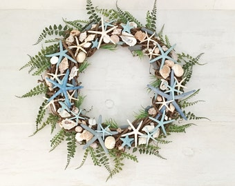"18"" Beach Wreath, Coastal Wreath, Seashell Wreath, Starfish Wreath, Beach Decor, Coastal Decor, Shell Wreath, Blue Wreath, Grapevine Wreath"