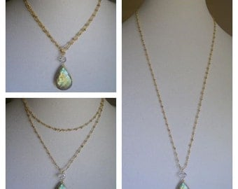 The Convertible Necklace in Labradorite and Herkimer Diamond